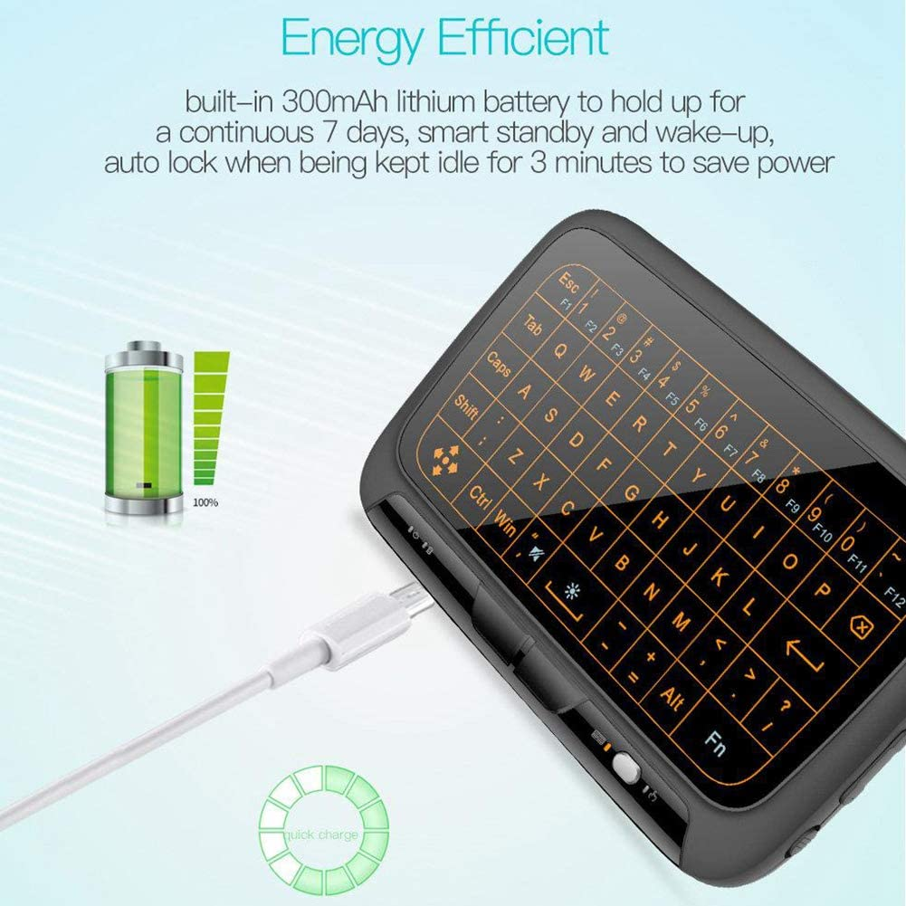 Windows PC Xbox Aceyyk 2.4Ghz Mini Wireless Mouse Keyboard,with Whole Panel Touchpad Portable Rechargeable Mini Wireless Touchpad Keyboard for Android TV Box HTPC IPTV