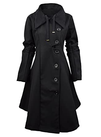 f110438a1afb Amazon.com  Azbro Women Winter Outdoor Wool Blended Classic Pea Coat ...