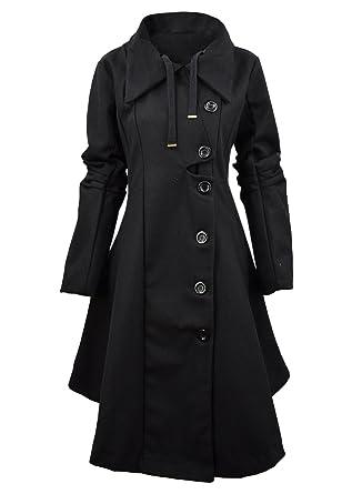 b6170fb66 Amazon.com  Azbro Women Winter Outdoor Wool Blended Classic Pea Coat ...