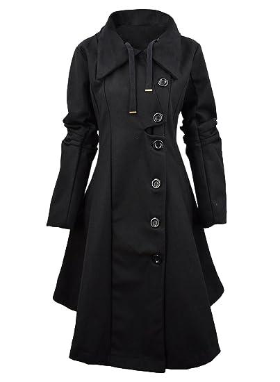 3733b07445d Azbro Women Winter Outdoor Wool Blended Classic Pea Coat Jacket