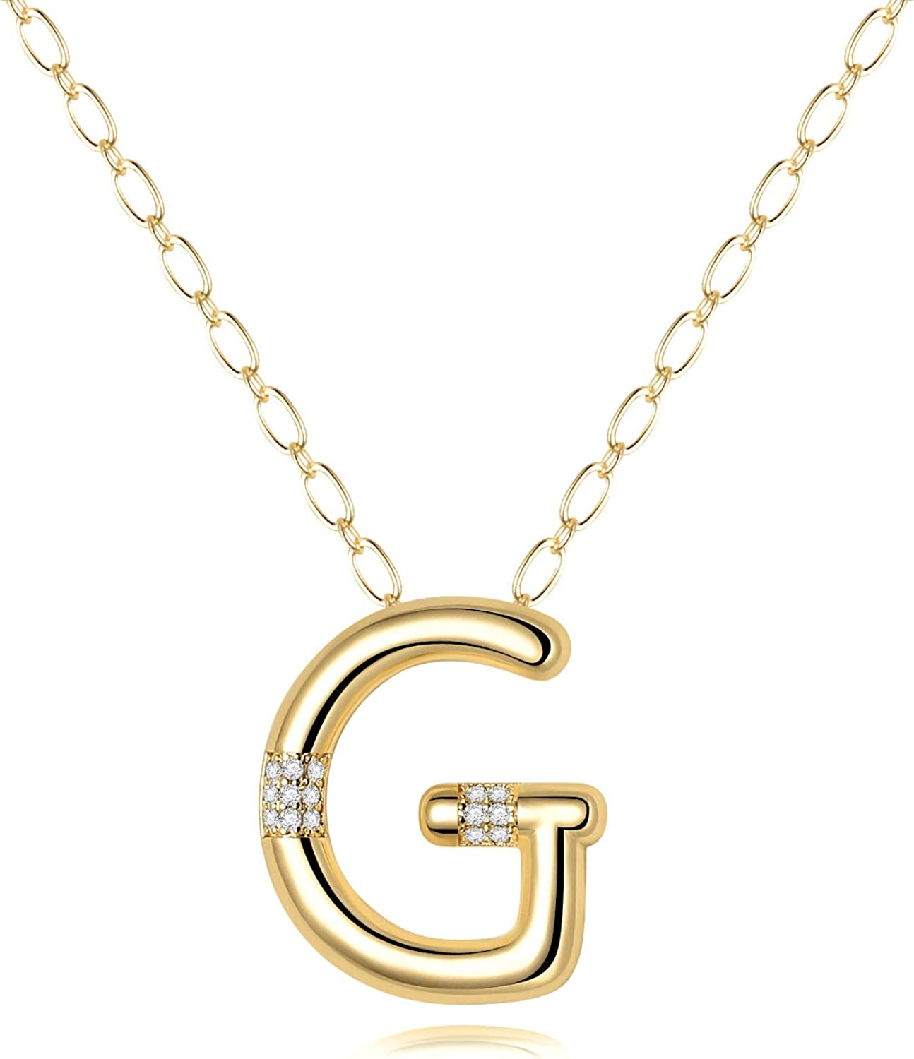 Personalized  Necklace 2 inch,Silver Custom Monogram Necklace,3 Initials Charm Necklace,Nameplate Pendant,Large Monogram,Bridesmaids Gifts