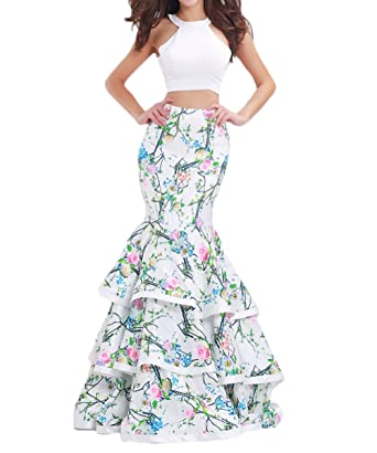 Z 2018 Spring Summer Sexy 2 Piece Bodice Floral Prom Dresses Long Mermaid Evening