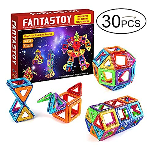 Fantastoy Magnetic Tiles 30 pcs Magnetic Construction Toys Colorful Creativity beyond Imagination, Inspirational, Recreational, Educational, Conventional