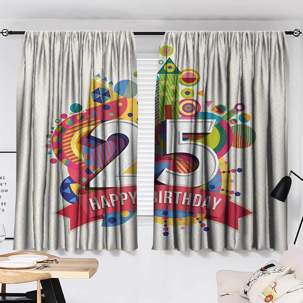 Jinguizi 25th Birthday Curtain Darkening Blackout Funny Celebration Greeting Card Inspired with Number Text Label Art Print Woven Darkening Curtains Multicolor W55 x L39 by Jinguizi (Image #2)