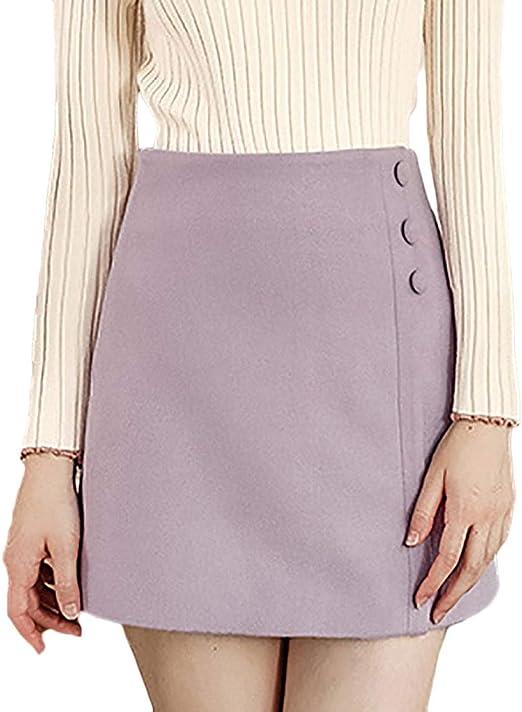 Faldas Mujer Elegantes Cintura Alta Minifalda A-Línea Otoño ...