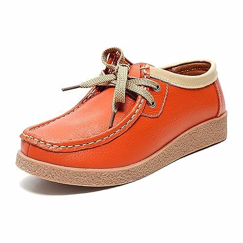 Moonwalker Zapatos Mocasines con Cordones de Cuero Mujer (EUR 39,Naranja)