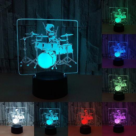 RUMOCOVO® Jazz Tambor Táctil Lámpara De Mesa Tambor Kit 7 Colores ...