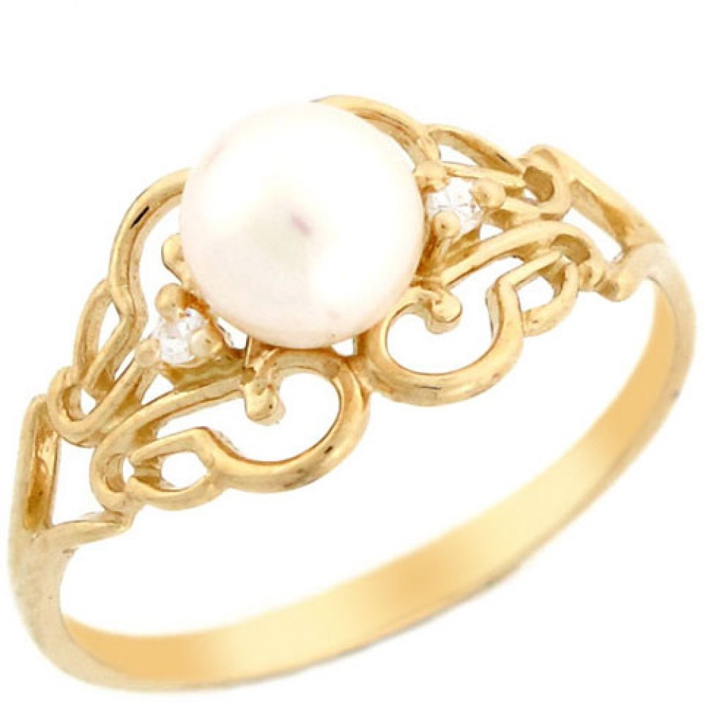 Jewelry Liquidation 14k Solid Yellow Gold Freshwater Cultured Pearl & CZ Filigree Every Day Ring