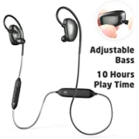 VFAD Adjustable Bass Wireless 4.2 Sports Earbuds Bluetooth Headphones (Black)