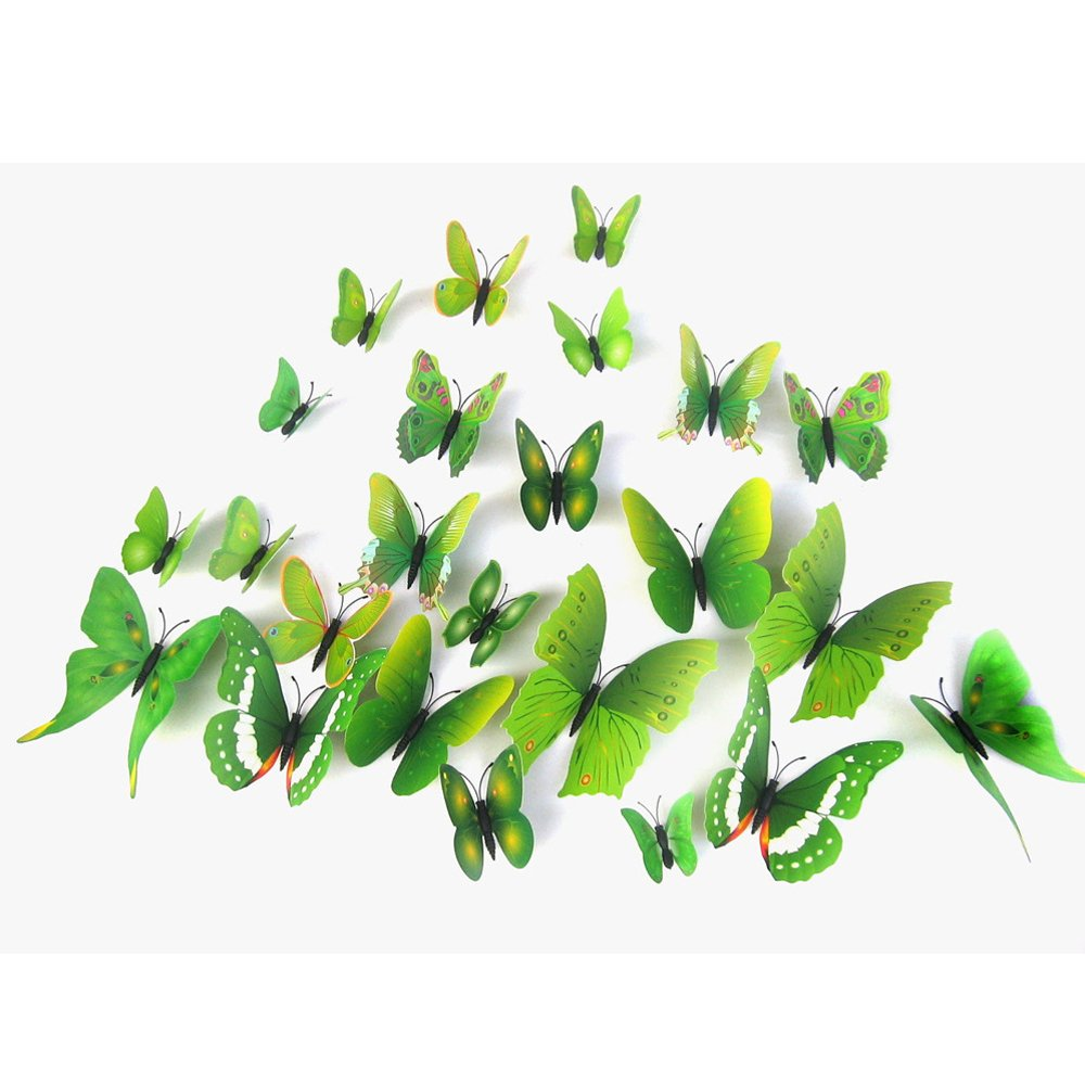 12 PCS 3D Vivid Special Man-made Lively Butterfly Art DIY Decor Wall Stickers Decals for Home Nursery Decoration Rose Kaimao