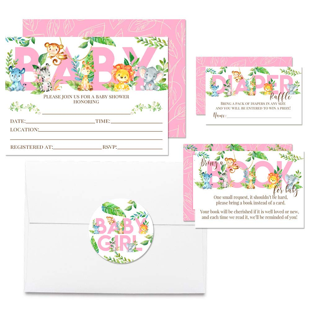 "Deluxe Watercolor Jungle Animals Baby Shower Party Bundle for Girls, Includes 20 each of 5''x7'' Fill In Invitations, Diaper Raffle Tickets, Bring a Book Cards & 2"" Thank You Favor Stickers w/ Envelopes by Amanda Creation (Image #6)"