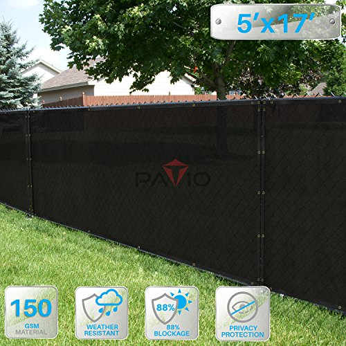 17' Sand Screen - Patio Paradise 5' x 17' Black Fence Privacy Screen, Commercial Outdoor Backyard Shade Windscreen Mesh Fabric with Brass Gromment 85% Blockage- 3 Years Warranty (Customized