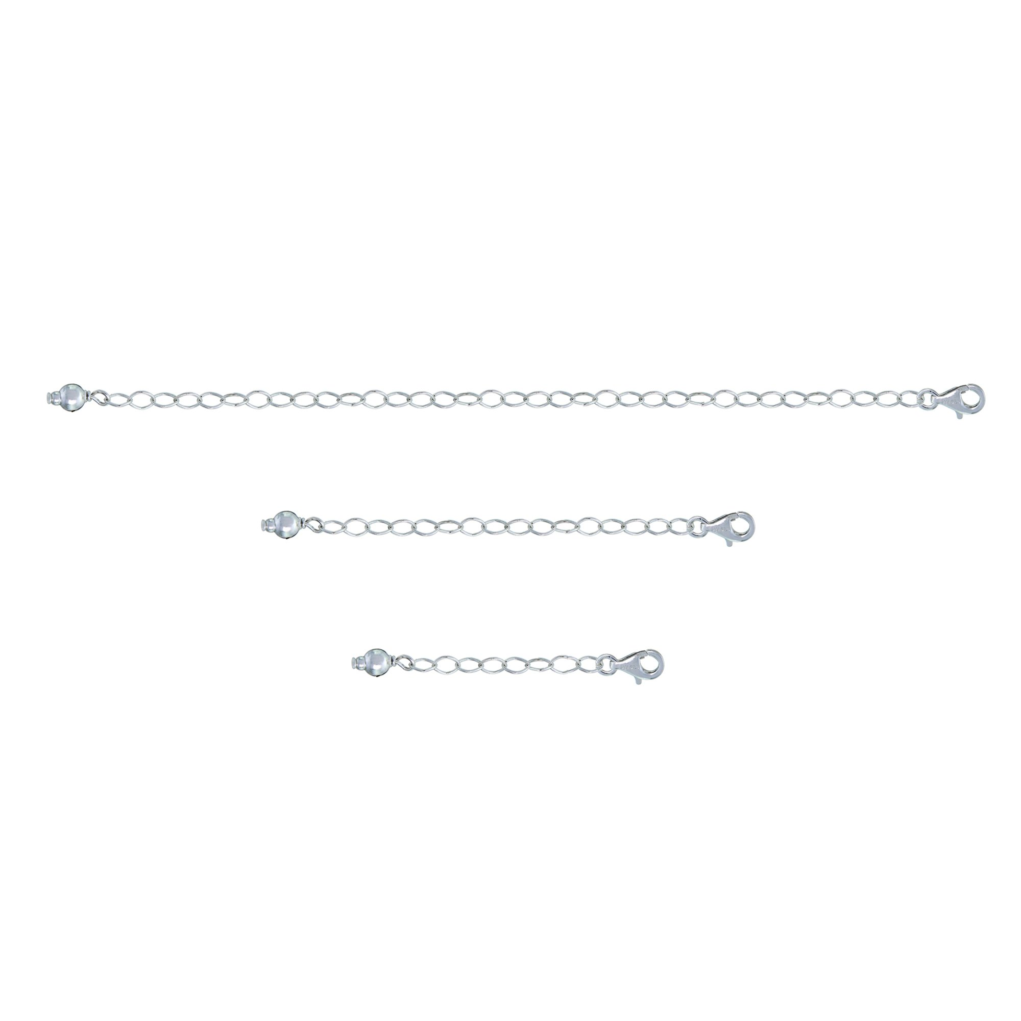GemStar USA Sterling Silver Pendant Necklace Bracelet Anklet Chain Extenders for Necklace, 1'' 2'' and 4''