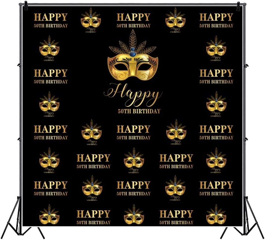 Yeele Happy 50th Birthday Backdrop Costume Makeup Theme Fifty Year Old Birthday Party Photography Backdrop Men Women Portrait 10x10ft Bday Decoration Photo Booth Photoshoot Props Wallpaper