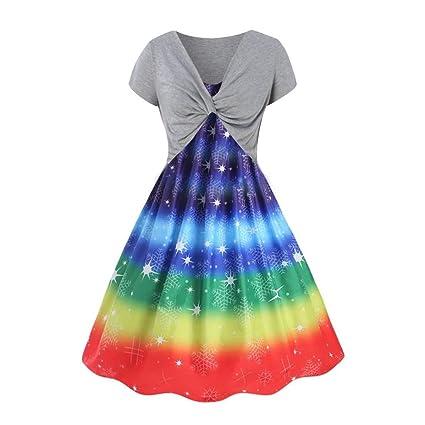 zarupeng✦‿✦ Vestido de Fiesta con Estampado de Arco Iris ...