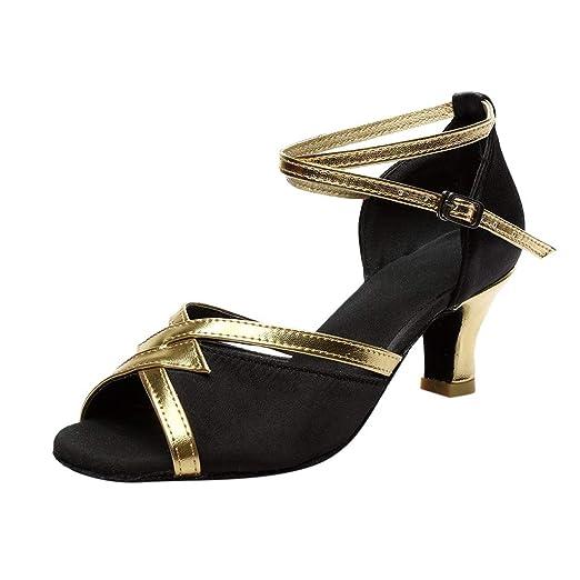 7b575715e589d Women Buckle Strap Rumba Waltz Prom Ballroom Dance Shoes Latin Salsa  Performance Wedding Dance Sandals 2'' Spike Heels