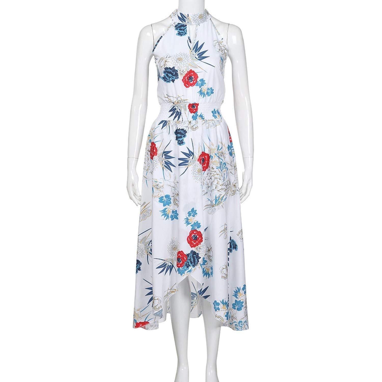 White Summer Dress Women Long Dress Long Sleeveless Beach Beach Dress Ladies Print Elegant Sexy Dress