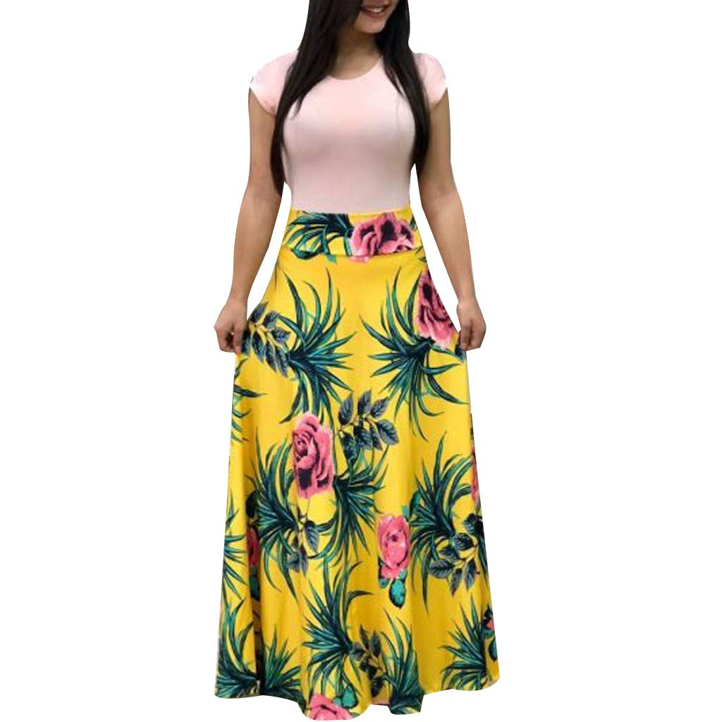 BCDshop Women's Short Cap Sleeve Floral Printed Dress Casual Swing Long Maxi Sundress (XXL, Yellow) by BCDshop_Dress Clearance