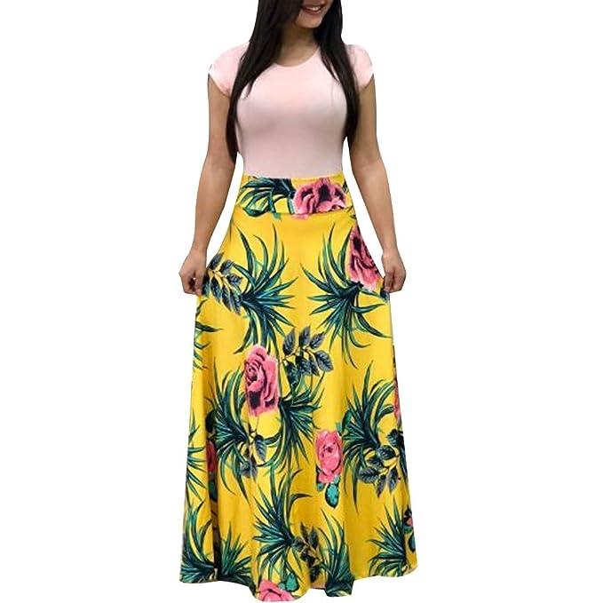 Covermason Mujer Verano Manga Corta Floral Impreso Sundress ...