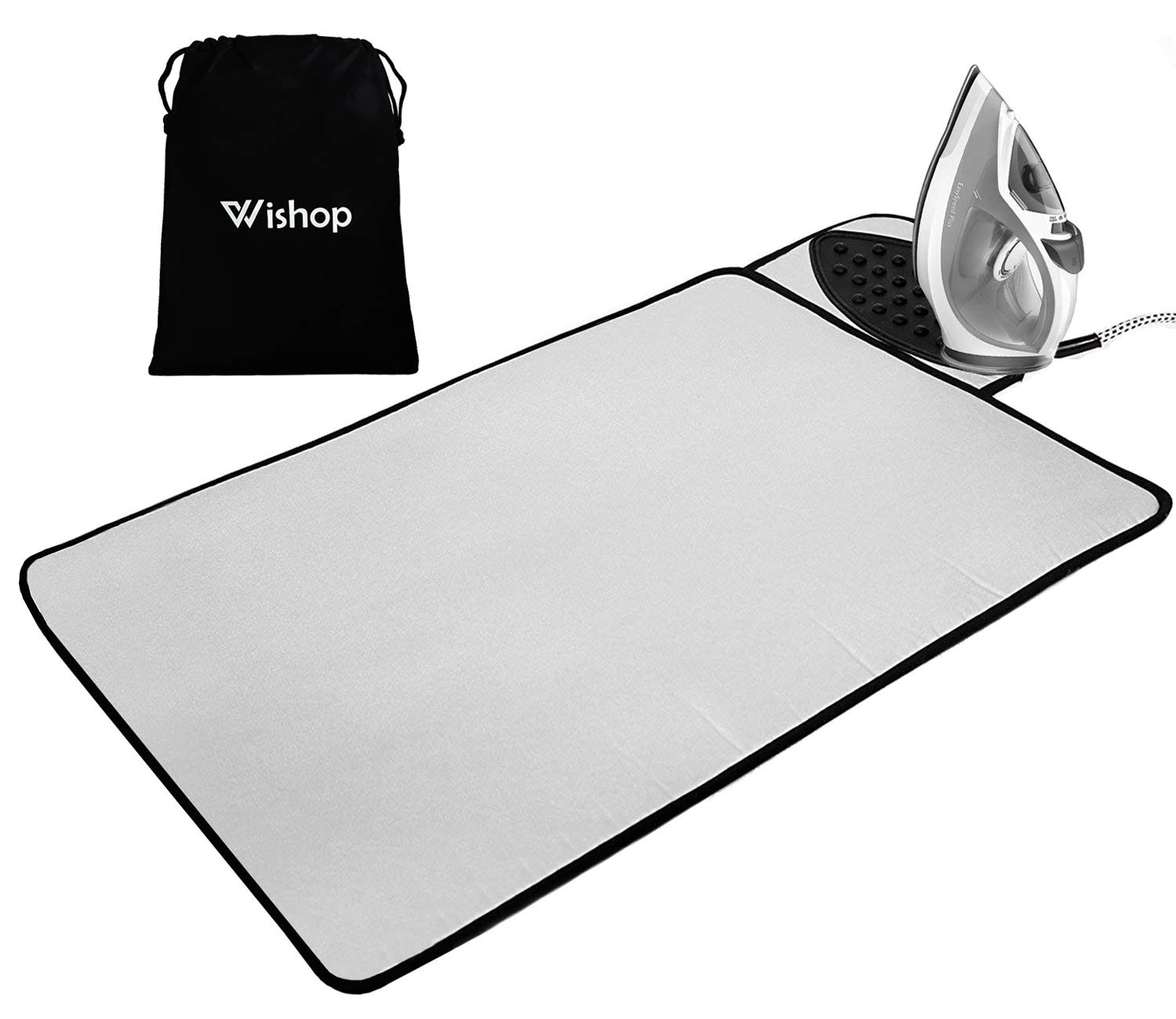 WISHOP Ironing Mat with Silicone Pad Heat Resistant Ironing Blanket, Thick Portable Travel Ironing Pad and Drawstring Bag