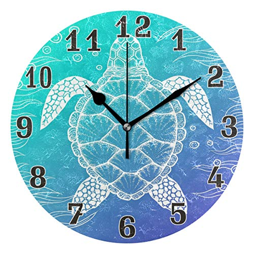 WXLIFE Ocean Sea Animal Turtle Round Acrylic Wall Clock, Silent Non Ticking Art Painting for Kids Bedroom Living Room Office School Home - Clock Turtle Sea