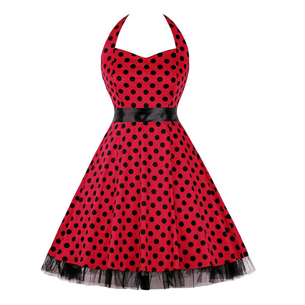 Elegant Women's Dresses Vintage Polka Dot Halter Dress 1950s Floral Sping Retro Rockabilly Cocktail Swing Tea Dresses Red by Chaofanjiancai_Dress