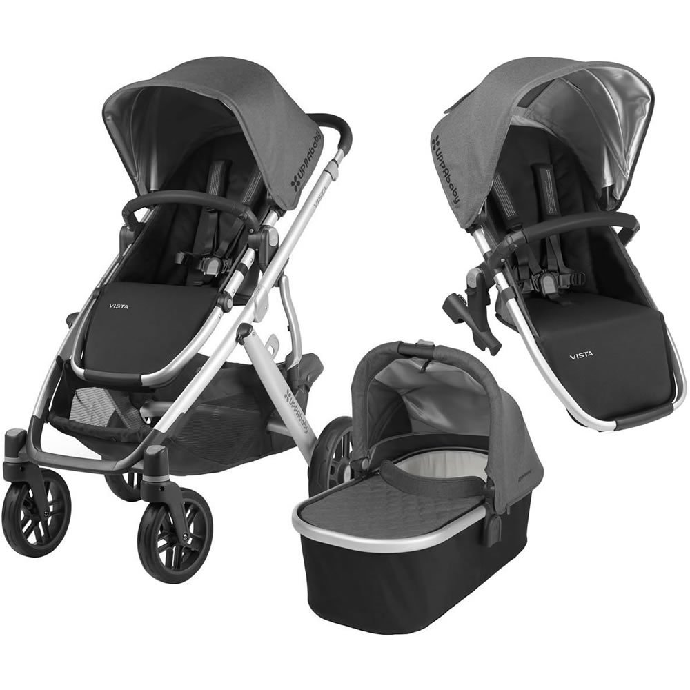 2018 Uppa Baby Vista Stroller   Jordan (Charcoal Melange/Silver/Black Leather) + Rumble Seat  Jordan (Charcoal Melange/Silver/Black Leather) by Upp Ababy