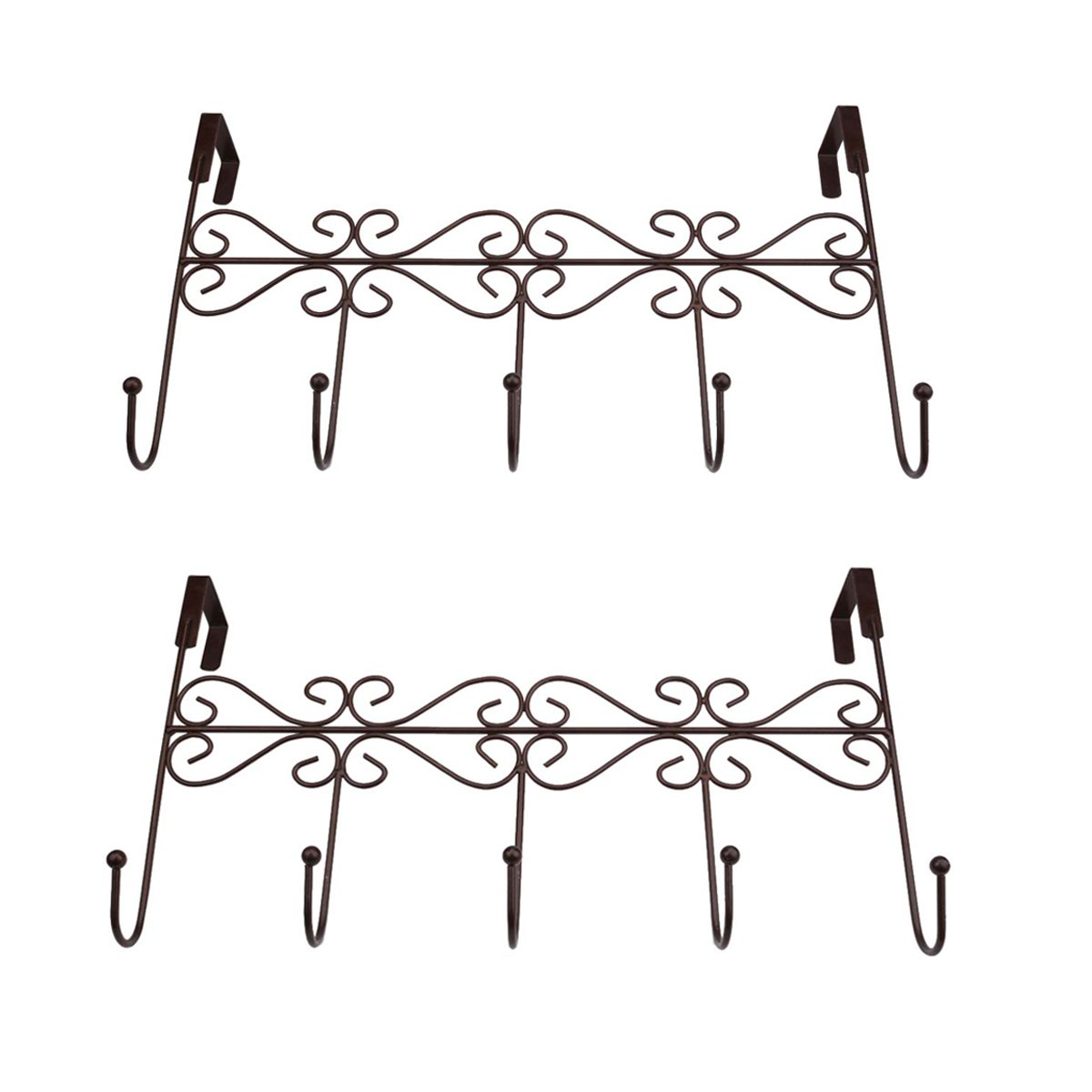 Xingyou Over Door Clothes Hanger with 5 Hooks Decorative Metal Hanger for Coats, Hats, Towels XY-H-002 (Max Bearing Weight: 10kg/22 lbs) Coffee (2)