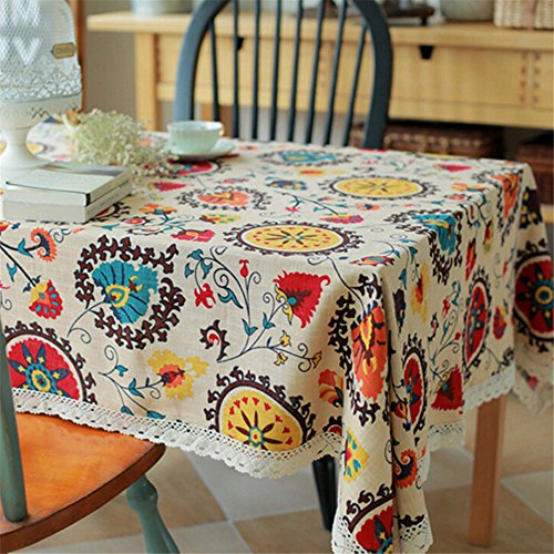 Superwinger Vintage Lace Sun Flower Tablecloth,Linen Embroidered Rectangle Washable Dinner Picnic Table Cloth,Assorted Size. (Linen Vintage Embroidered)