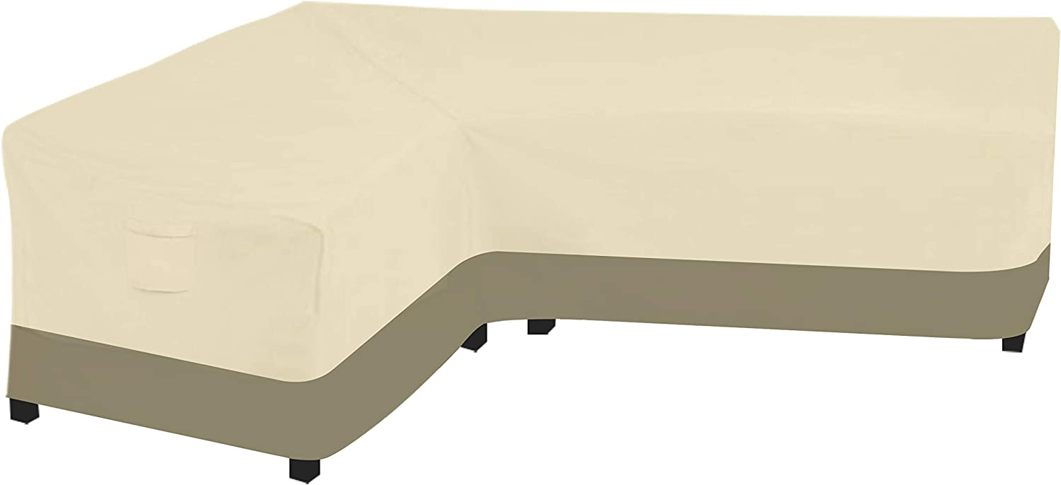 Wisteria LaneOutdoor L-Shaped Sectional Sofa Cover, Waterproof Patio Furniture Set Covers, Wear-Resistant 600D Heavy Duty 83