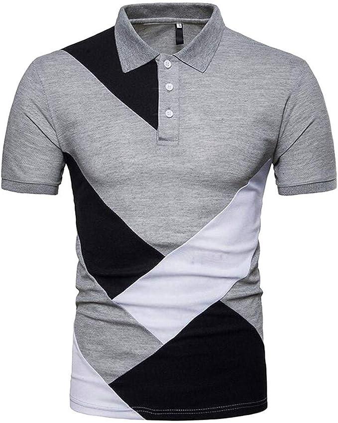 POLP Polos para Hombre Camiseta de Manga Corta con Botón para ...