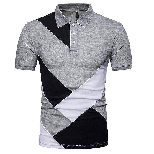 805e62e80 Amazon.com: AMSKY 2019 Mens Shirt, Fashion Personality Men's Casual Slim  Short Sleeve Patchwork T Shirt Top Blouse: Clothing