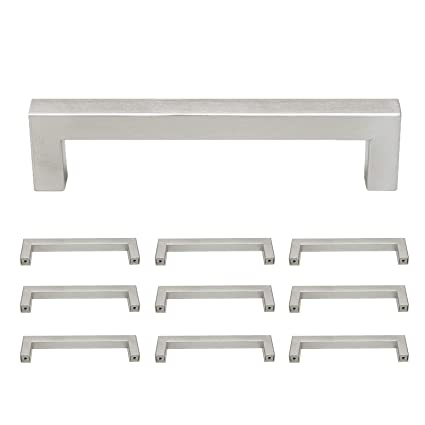 Probrico Square Kitchen Cupboard Handles And Pulls 5 Inch Holes Centers Stainless Steel Cabinet Drawer Handles Brushed Nickel 5 1 2 Inch Total Length