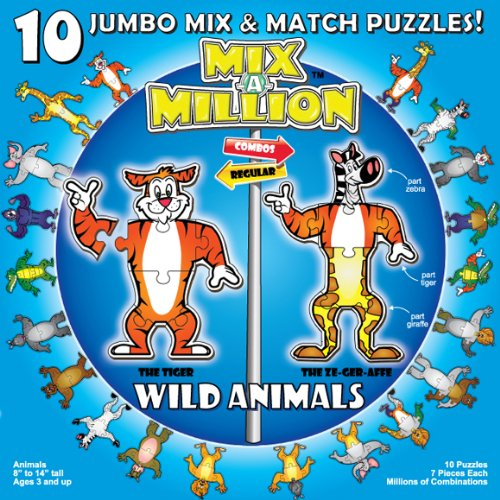 Wild Animals Mix-A-Million 10 Jumbo Mix Match and Match Mix Puzzles by A Broader View 2f708c