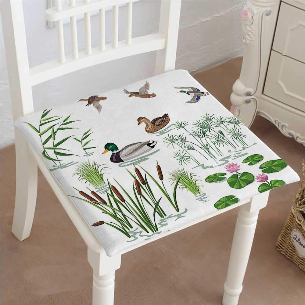 Mikihome Chair Pad Soft Seat Cushion Animals and Plants with Lily Flowers Reeds and Cane in The Pond Nature Expandable Polyethylene Stuffed Machine Washable 16''x16''x2pcs
