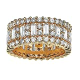 Palm Beach Jewelry Emerald-Cut Round White Cubic Zirconia 14k Yellow Gold-Plated Eternity Ring Size 7