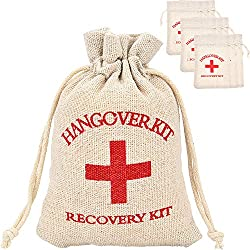 Maxdot 20 Packs Cotton Muslin Wedding Party Favor Bags Red Cross Bachelorette Hangover Kit Bags Recovery Kit Bags Survival Kit Bags Drawstring Bag, 5.5 x 3.9 Inches