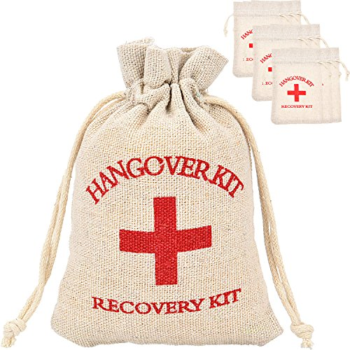 (Maxdot 20 Packs Cotton Muslin Wedding Party Favor Bags Red Cross Bachelorette Hangover Kit Bags Recovery Kit Bags Survival Kit Bags Drawstring Bag, 6 x 3.9 Inches)