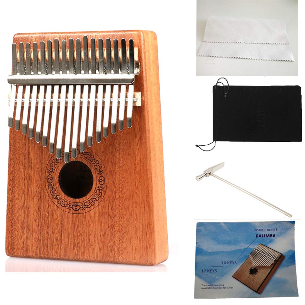Hidear Thumb Piano Kalimba 17 keys Finger Piano Mbira 17 Tone Musical Toys with Instruction and Tune Hammer, Portable Thumb Piano Mahogany Body Ore Metal Tines by Hidear (Image #2)