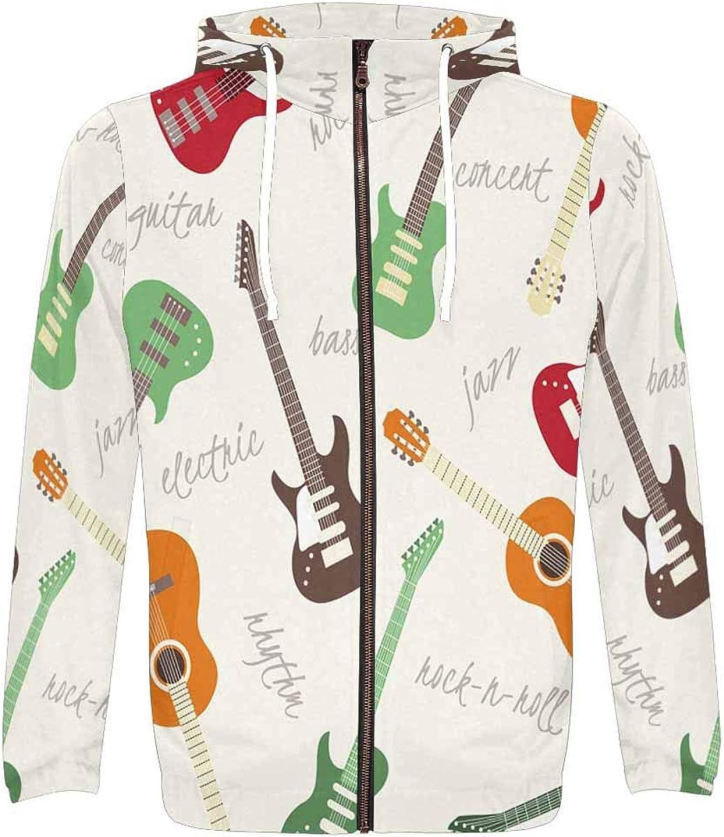 INTERESTPRINT Mens Full Zip Hoodies Music Guitar