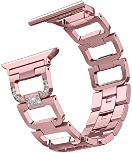 SWAWS Bling Bands for Apple Watch Band 38mm Women Fashion Rhinestone Luxury Diamond Stainless Steel Metal Replacement iWatch Wristband Strap for Apple Watch Series 4/3/2/1 (Rose Gold-38mm)