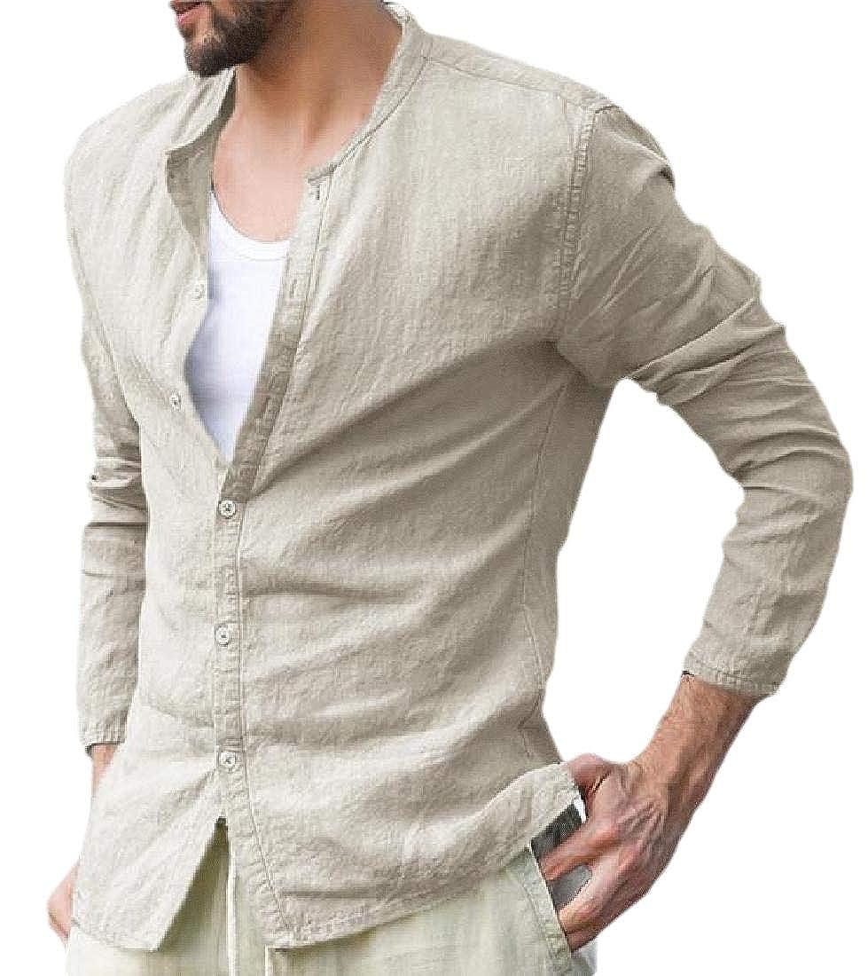 Mens Shirts Linen Cotton Button Down Fishing Tees Plain Summer Shirts