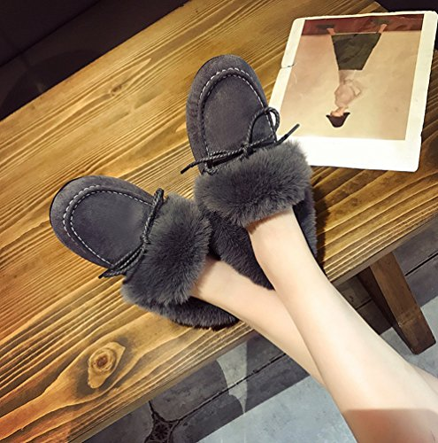 Anguang Women's Outdoor Flat Non-slip Snow Boots Short Warm Moccasins Shoes Gray mL9nfc