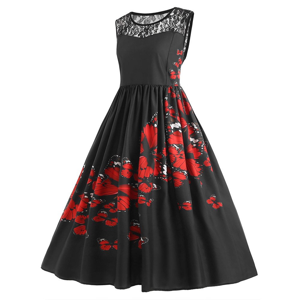 Yusealia Women Print Midi Dresses Clearance Sale Lace Patchwork Sexy O-Neck Sleeveless Prom Evening Cocktail Party Dress Casual Summer Beach Sundress: ...