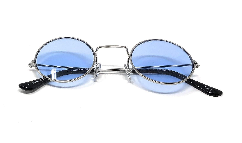 UltraByEasyPeasyStore Marco Plateado Con Lentes Celestes Estilo Pequeño  Adultos Gafas Redondas de Sol Estilo John Lennon Vintage Calidad UV400  Elton Hombres ... b620ec484842
