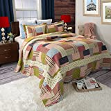 Lavish Home Savannah Printed 3-Piece Quilt Set, King