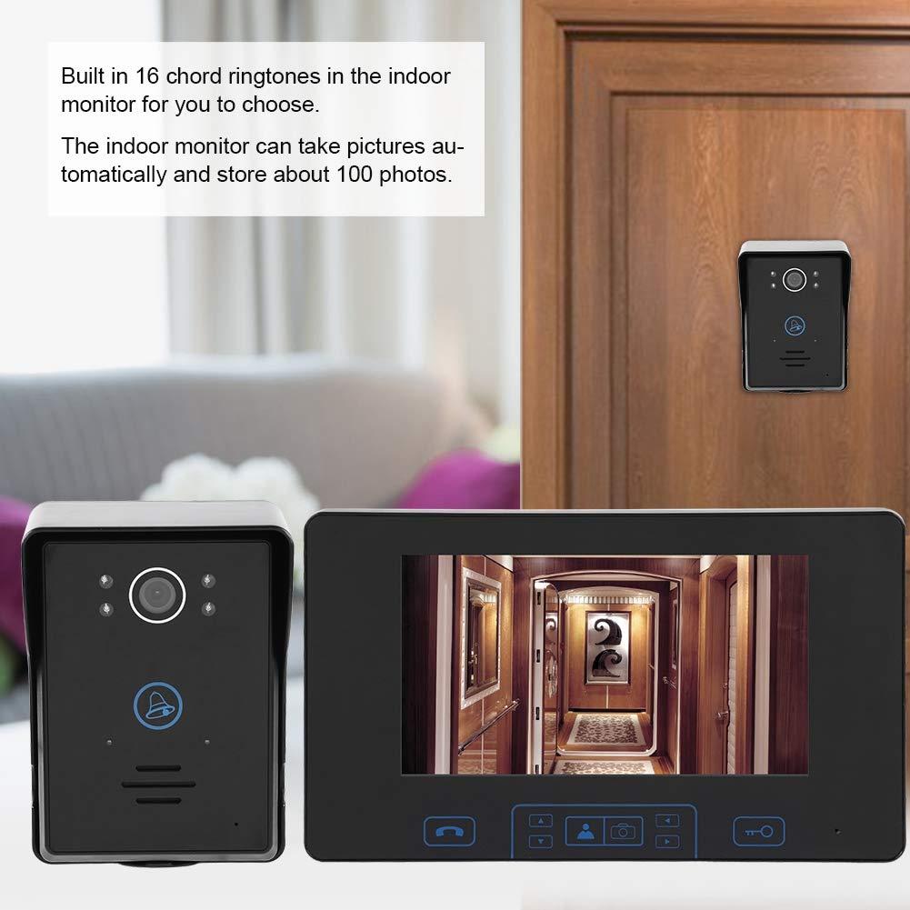 Videoportero inal/ámbrico de 7 pulgadas Videoportero Interfono Tel/éfono de puerta digital 2.4GHz EU Visi/ón nocturna 92 /° Gran angular
