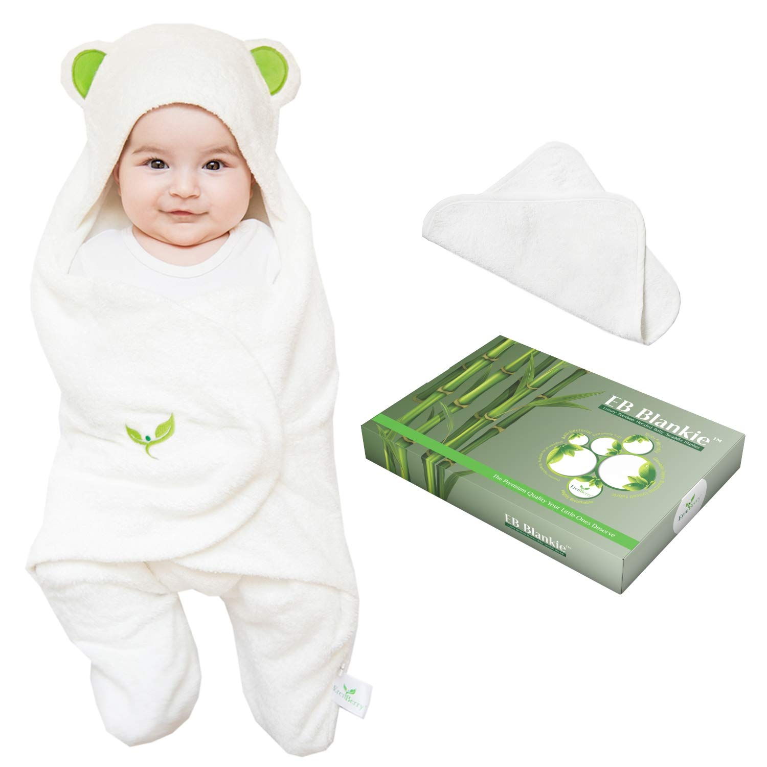 Bamboo Lyocell Swaddle Blanket - Premium Quality Baby Swaddle Wrap - Unisex Baby Sleeping Bag - Perfect Baby Shower Gift - Bonus Bamboo Washcloth, Green Ears - Medium Size by ErenBerry
