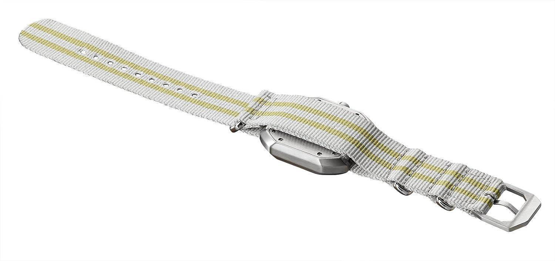 slow Mo 13 - Schweizer Unisex Einzeigerarmbanduhr analoge 24 Stunden Anzeige silber mit gelb-grauem Nylonband