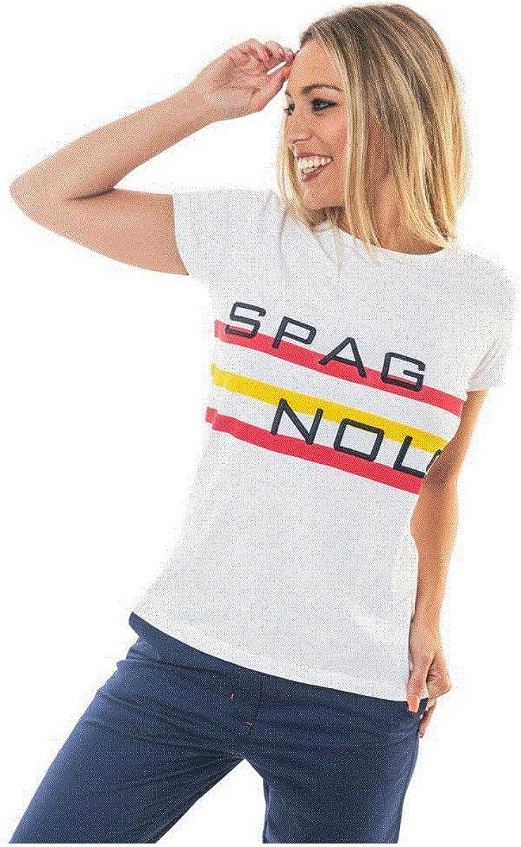 SPAGNOLO PAUL & ESTHER Camiseta Bordado Y Estampado Rayas 2029 (L): Amazon.es: Ropa y accesorios